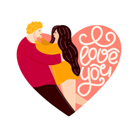 Lovers looking at each other and hugging. Heart shape. Happy Valentines Day. Couple in love. Cute characters. Lettering. Flat design. Card, cover, poster, invitation, print on clothes. Vector, eps10