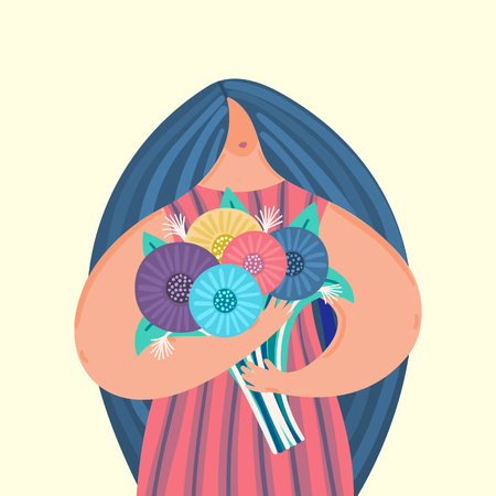 Girl with disproportionate figure holds bouquet of flowers. Flat design. Trendy style. Body positive. Woman in dress. This can be used for greeting card, banner, poster, cover, brochure. Vector, eps10