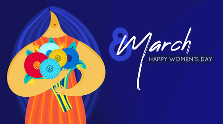 Girl with disproportionate figure holds bouquet of flowers. Flat design. Trendy style. 8 March. Happy womens day. This can be used for greeting card, banner, poster, invitation, brochure. Vector Illustration
