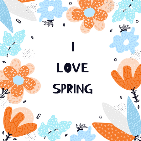 Vector spring background with floral composition. Abstract hand drawn colorful flowers with different textures. Applique. Freehand style. Artistic design for card, packaging, decor, invitation, banner Vettoriali