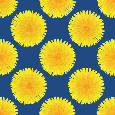 Floral seamless pattern. Hand drawn yellow head of dandelion officinale. Wildflower. Taraxacum. Design for wallpaper, textiles, wrapping, card, print on clothes, packaging. Vector illustration, eps10