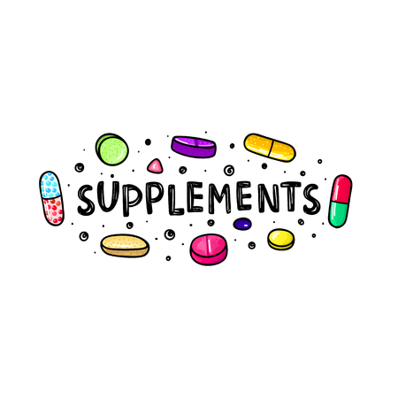 Lot of colorful pills and capsules. Dietary supplements. Healthy lifestyle. Alcohol markers style. Doodle. Health and care. Design for clinics, hospitals, pharmacies, medical posters. Vector, eps10