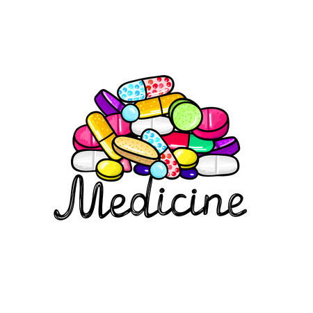 Lot of pills and capsules. Medicine or dietary supplements. Healthy lifestyle. Alcohol markers style. Doodle. Health and care. Design for clinics, hospitals, pharmacies, medical posters. Vector, eps10