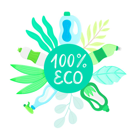 Eco friendly household cleaning supplies in leaves. Natural detergents. Products for house washing. Non chemical cleaners. Green home. Flat design. Banner, leaflet, brochure, lable, package. Vector Vettoriali