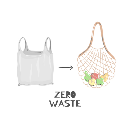 String bag instead of plastic. Zero waste lifestyle. Eco friendly. Save planet. Care of nature. Vegan. Go green. Refuse, reduce, reuse, recycle, rot. Wasteless technology. Vector illustration, eps10 Иллюстрация