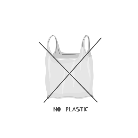 No plastic bags. Zero waste lifestyle. Eco lifestyle. Save planet. Care of nature. Vegan. Go green. Refuse, reduce, reuse, recycle, rot. Wasteless technology. Unique design. Vector illustration, eps10 Иллюстрация