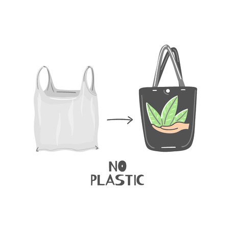 Cloth bag instead of plastic. Zero waste lifestyle. Eco friendly. Save planet. Care of nature. Vegan. Go green. Refuse, reduce, reuse, recycle, rot. Wasteless technology. Vector illustration, eps10 Иллюстрация