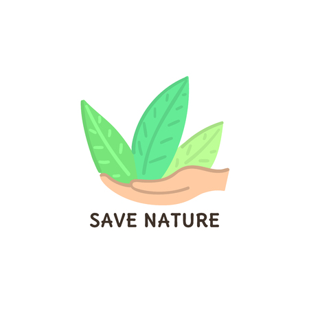 Human hands hold green plant. Abstract herb. Save nature. Eco friendly design. Environment protection. Banner, poster, invitation, card, brochure, flyer, label, print on clothes, logo. Vector, eps10 Banque d'images - 121647936