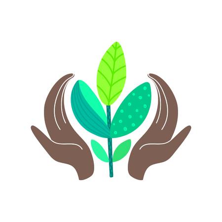 World environment day concept. Hands of african american holding abstract plant. Save nature. Eco friendly design. Banner, poster, invitation, card, brochure, label, print. Vector illustration, eps10 Banque d'images - 121647937