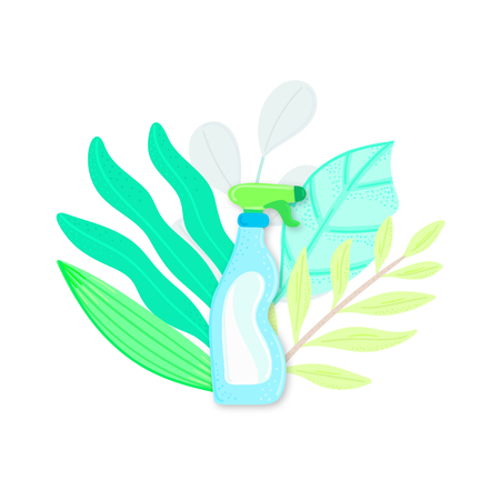 Eco friendly household cleaner in leaves. Natural detergent. Organic biodegradable product for house cleaning. Non chemical. Green home. Flat design. Banner, leaflet, brochure, label, package. Vector