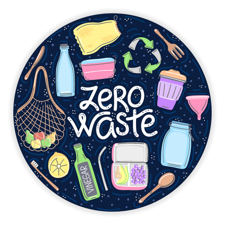 Vector hand drawn zero waste objects and lettering in round shape. Lifestyle. Save planet. It can be used for brochure, flyer, poster, banner, package, print on eco bag or T-shirt and other clothes