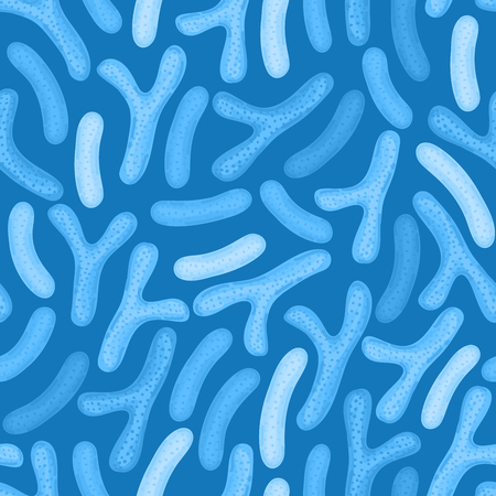 Seamless pattern with probiotics. Lactic acid bacterium. Bifidobacterium, lactobacillus. Microbiome. Microbiota. Medicine or dietary supplements for gastrointestinal health. Label, wrapping. Vector