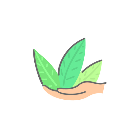 Human hands hold green plant. Abstract herb. Save nature. Eco friendly design. Environment protection. Banner, poster, invitation, card, brochure, flyer, label, print on clothes, logo. Vector, eps10 Ilustracja