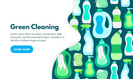 Vector background with eco friendly household cleaning supplies. Natural detergents. Landing page template. Products for house washing. Green home. Online store. Banner, mailing, advertising, label