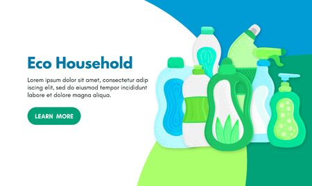 Vector background with eco friendly household cleaning supplies. Natural detergents. Landing page template. Products for house washing. Green home. Online store. Banner, mailing, advertising, label Ilustração
