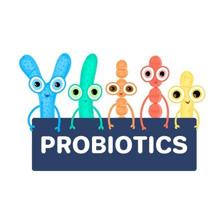 Probiotics. Lactic acid bacterium. Bifidobacterium, lactobacillus, streptococcus thermophilus, lactococcus, propionibacterium. Microbiome. Microbiota. Cute characters. Gastrointestinal health. Vector Illustration