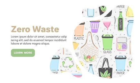 Vector background with zero waste objects. Hand drawn flat style. Eco lifestyle. Save planet. Care of nature. Online store. Stock Illustratie