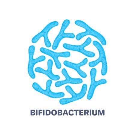 Vector probiotics in circular shape. Bifidobacterium. Microbiome. Medicine or dietary supplement.