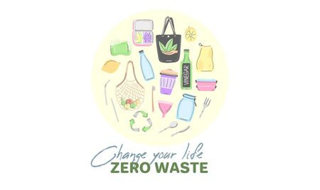 Vector background with zero waste objects. Hand drawn flat style. Eco lifestyle. Save planet.