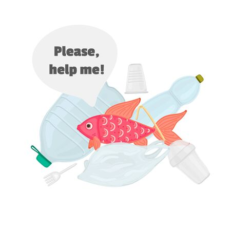 Stop ocean plastic pollution. The fish swims among the garbage. Marine life under threat. Waste in water. Trash underwater. Environmental Protection. Banner, brochure, poster, leaflet. Vector, eps10