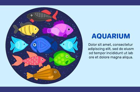Vector colorful cartoon fish in circular shape. Undersea world. Aquarium. Cute marine life.