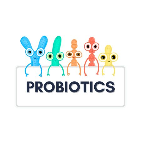 Probiotics. Lactic acid bacterium. Bifidobacterium, lactobacillus, streptococcus thermophilus, lactococcus, propionibacterium Microbiome. Microbiota. Cute characters. Gastrointestinal health. Vector