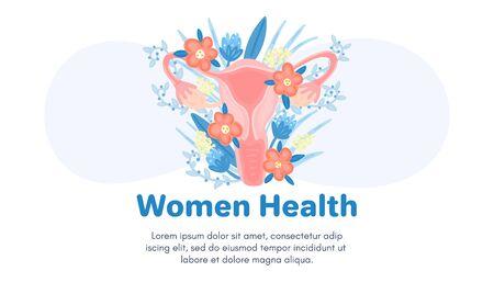 Szablon sieci Web z żeńskim układem rozrodczym w kwiatach. Wstęp. Zdrowie kobiety. Reklama podpasek dla kobiet, lactobacillus, oddziału położnictwa i ginekologii. Baner medyczny.