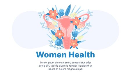 Web template with female reproductive system in flowers. Landing page. Woman health. Advertising for women's pads, lactobacillus, department of obstetrics and gynecology. Medical banner. Ilustracja