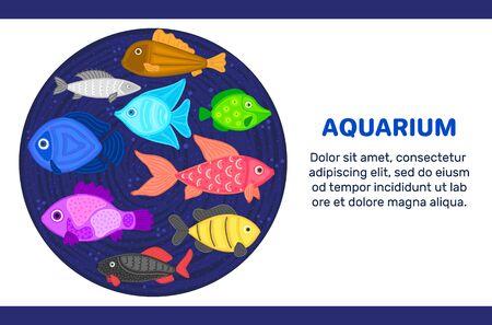 Vector colorful cartoon fish in circular shape. Undersea world. Aquarium. Cute marine life. Pisces.