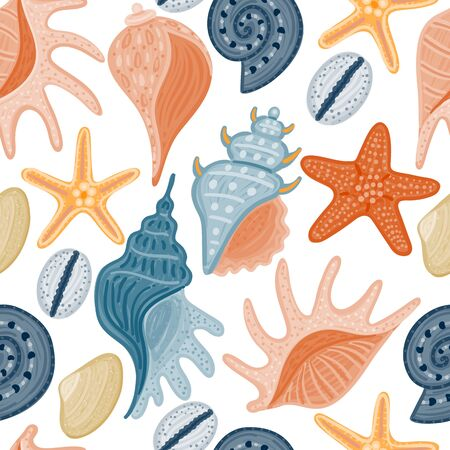 Vector seamless pattern with colorful shells. Ornament with seashells. Wrapping paper, package, wallpaper, clothing and other textile in a pet store or aquapark, print on shower curtain, beach mat Stock Illustratie