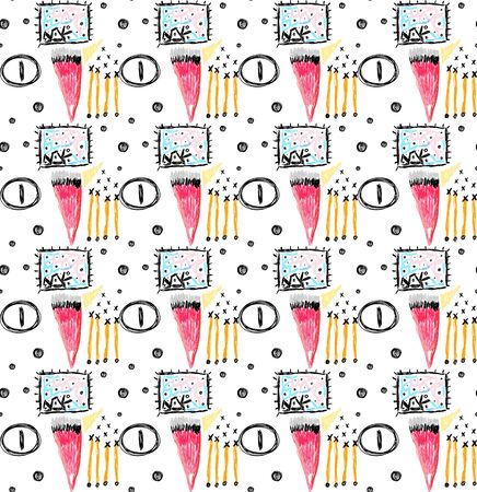 Abstract seamless pattern with hand drawn scribbles, scruffy doodles. Modern art. Creative background. Unique design. Wallpaper, textile, wrapping, print on clothes, label, header. Vector illustration