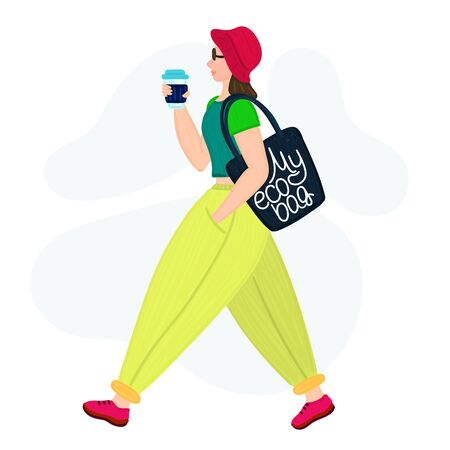 Stylish hipster girl with eco bag and reusable glass cup. Woman sideways. Zero waste lifestyle. Flat style. Banner, brochure, print on cover, card or clothes. Colorful colors. Vector illustration