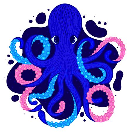 Vector octopus. Cute cartoon character. Colorful marine life. Underwater creatures. Design for the attributes of water park and aquarium. Print for clothes, cards, covers, posters. Sticker, label Stock Illustratie