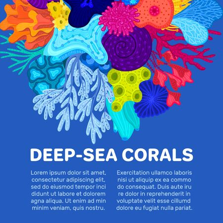 Vector composition of corals. Background with colorful sea or ocean life. Template for cover, invitation, banner, brochure, flyer, label, header. Advertising of water park, aquarium, marine exhibition