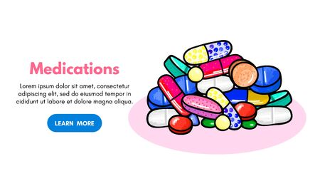 Vector background with pills and capsules. Medicine or dietary supplements. Doodle. Design for clinics, hospitals, pharmacies. Online store. Landing page template, banner, mailing, advertising, label