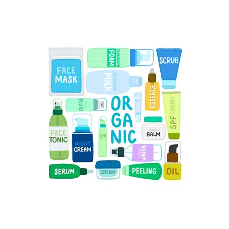 Organic or natural cosmetics. Many jars and bottles with various cosmetic names. Facial skin care. Beauty face. Can be used to design packaging bag, label, banner, tag, brochure, poster, card. Vector
