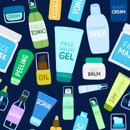 Seamless pattern with organic or natural cosmetics. Many jars and bottles with cosmetic names. Facial skin care. Can be used to design a packaging bag, banner, tag, poster, wrapping paper. Vector Ilustração