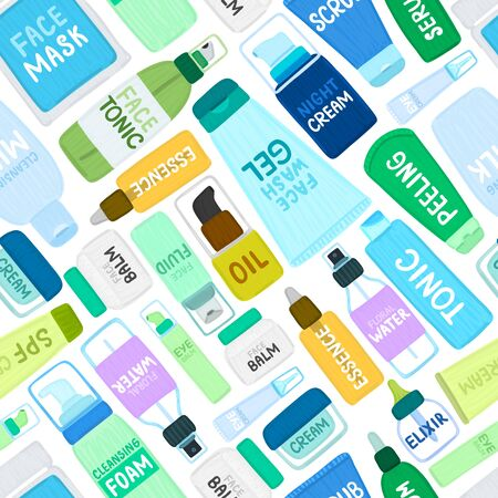 Seamless pattern with organic or natural cosmetics. Many jars and bottles with cosmetic names. Facial skin care. Can be used to design a packaging bag, banner, tag, poster, wrapping paper. Vector 写真素材 - 132946634
