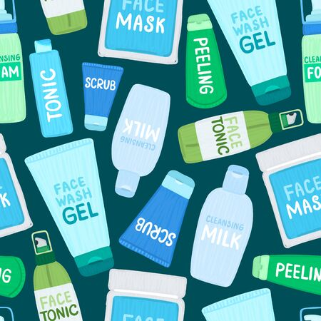 Seamless pattern with organic or natural cosmetics. Many jars and bottles with cosmetic names. Facial skin care. Can be used to design a packaging bag, banner, tag, poster, wrapping paper. Vector  イラスト・ベクター素材