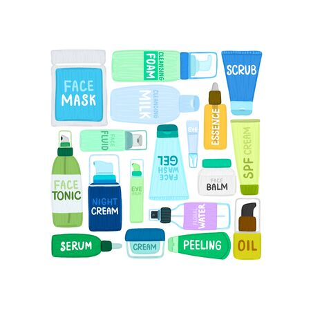 Organic or natural cosmetics. Many jars and bottles with various cosmetic names. Facial skin care. Beauty face. Can be used to design packaging bag, label, banner, tag, brochure, poster, card. Vector  イラスト・ベクター素材
