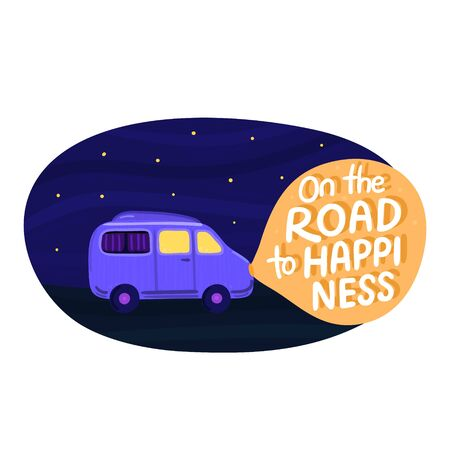 Van life concept. Night sky with stars. Campervan rides along road. In light of headlights there is lettering. Purple camper in movement. Design for poster, sticker, banner, postcard, brochure. Vector