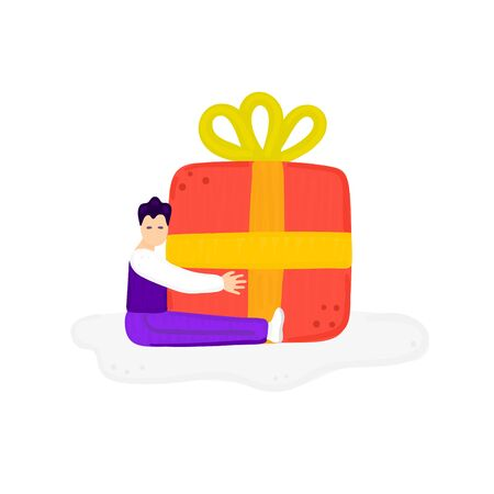 Little man hugs big gift. Boy clung to huge giftbox. Colorful concept. Present for birthday or other holiday. Design for banner, card, cover, postcard, flyer, brochure. Vector illustration, eps10