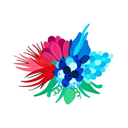 Bouquet of beautiful colorful flowers. Speckled petals. Hand-drawn plants. Floral arrangement. Bunch of bloom. Composition for design of cards, invitations, posters, flyers, print on clothes. Vector