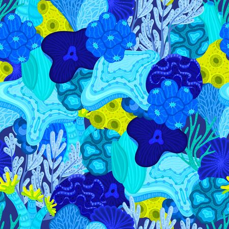 Vector seamless pattern with corals. Background with colorful sea or ocean life. Underwater world. Design for attributes of water park, aquarium. Wrapping paper, package, wallpaper, textile, label 일러스트