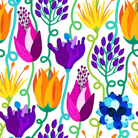 Floral seamless pattern. Hand drawn beautiful flowers. Colorful repeating background with blossom. Speckled petals. Design for wallpaper, textiles, wrapping paper, card. Ilustração