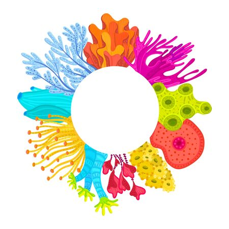 Vector circle frame with corals. Colorful sea or ocean life. Print on clothes, card, poster, cover, package, postcard, brochure, flyer for water park, aquarium or marine exhibition. Sticker, label