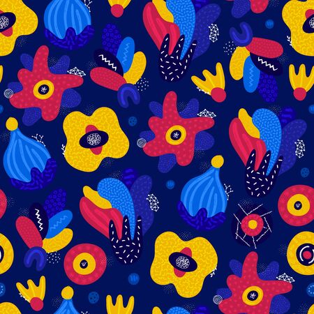Vector seamless pattern. Abstract hand drawn flowers with different textures. Floral composition. Freehand style. Artistic design for wallpaper, textiles, wrapping, card, print on clothes, packaging Ilustração