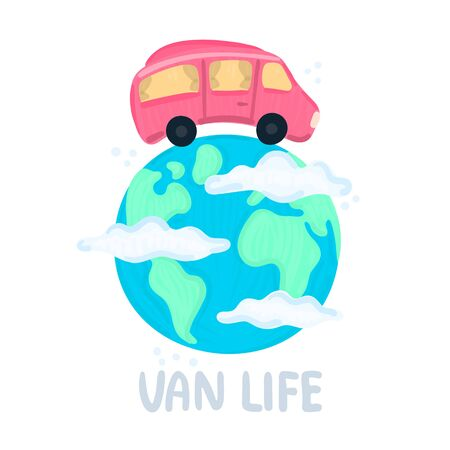 Van life concept. Campervan circling planet. Traveling across world. Earth in clouds. Red camper in movement. Lifestyle. Design for poster, sticker, banner, postcard, brochure, cover. Vector, eps10