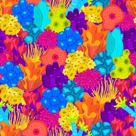 Vector seamless pattern with corals. Background with colorful sea or ocean life. Underwater world. Design for attributes of water park, aquarium. Wrapping paper, package, wallpaper, textile, label Ilustração
