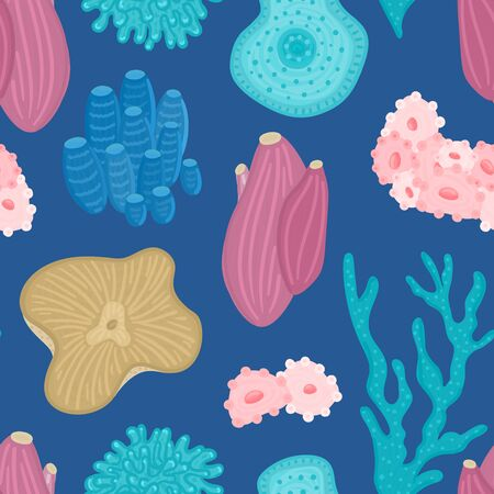 Vector seamless pattern with corals. Background with colorful sea or ocean life. Underwater world. Design for attributes of water park, aquarium. Wrapping paper, package, wallpaper, textile, label Ilustrace